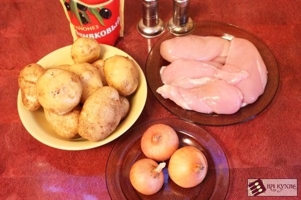 Куриное филе, запеченное с картофелем под майонезом - приготовление, шаг 1