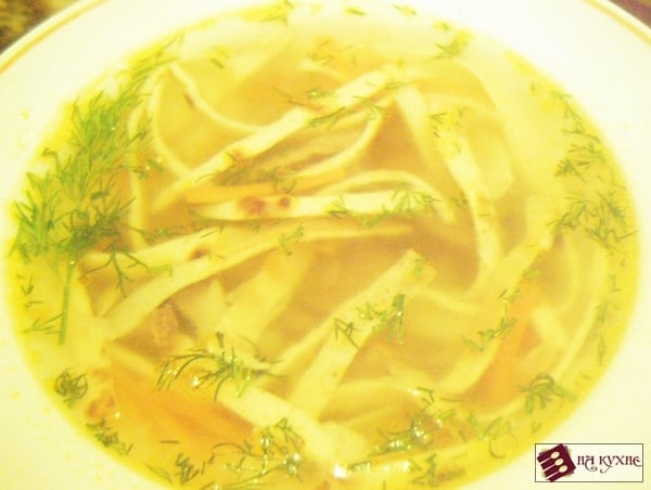 Суп мясной с омлетом
