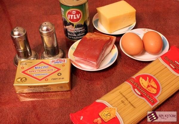 Спагетти с беконом и сыром - приготовление, шаг 1