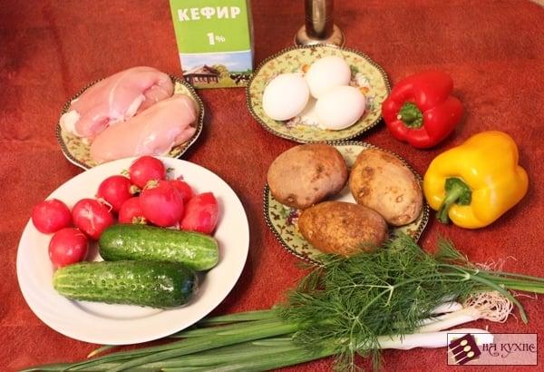 Окрошка с курицей и болгарским перцем на кефире - приготовление, шаг 1