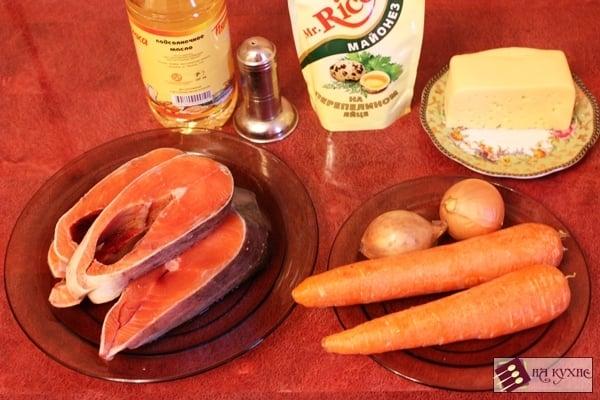 Красная рыба, запеченная с овощами под сыром - приготовление, шаг 1