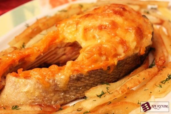 Красная рыба, запеченная с овощами под сыром - приготовление, шаг 10