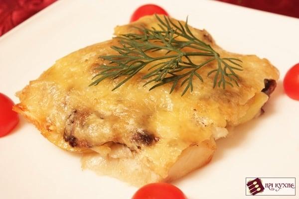 Запеченный картофель с рыбой и грибами - приготовление, шаг 13