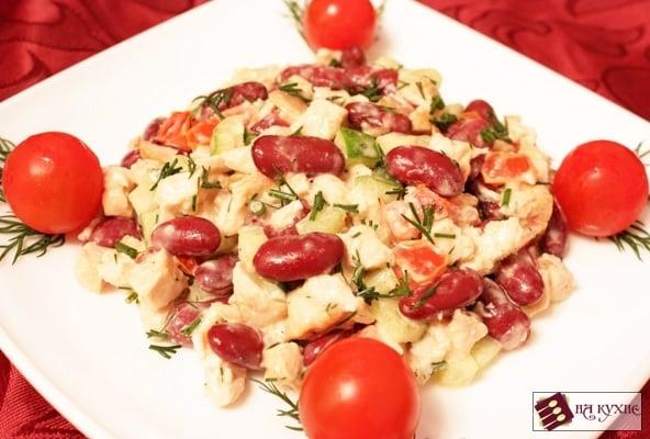 Салат с курицей и красной фасолью - приготовление, шаг 9