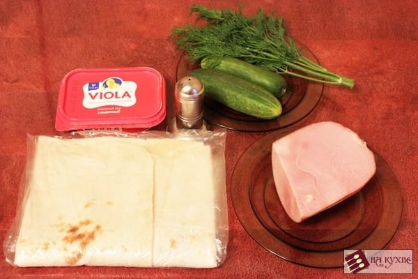 Рулетики из лаваша с ветчиной и сыром - приготовление, шаг 1