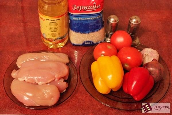 Тушеная курица с рисом и овощами - приготовление, шаг 1