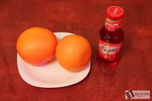Десерт из грейпфрута с малиновым сиропом - приготовление, шаг 1