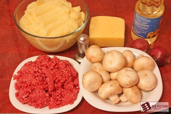 Картофельная запеканка с фаршем и грибами - приготовление, шаг 1