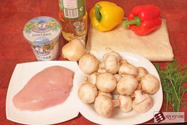 Рулетики из лаваша с курицей и грибами - приготовление, шаг 1
