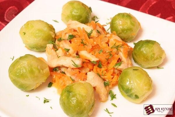 Брюссельская капуста с курицей и овощами - приготовление, шаг 9