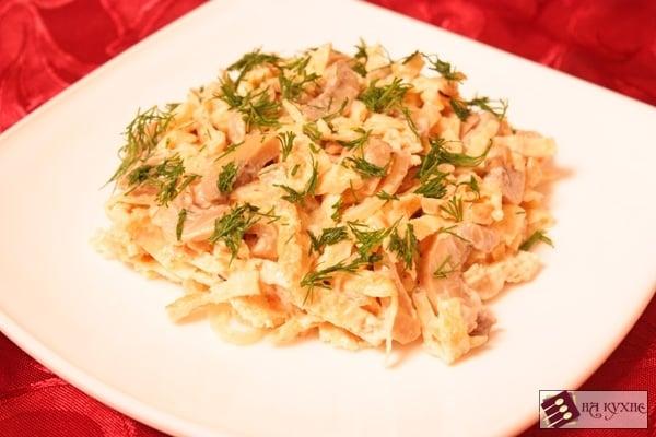 Салат с яичными блинчиками и грибами - приготовление, шаг 8