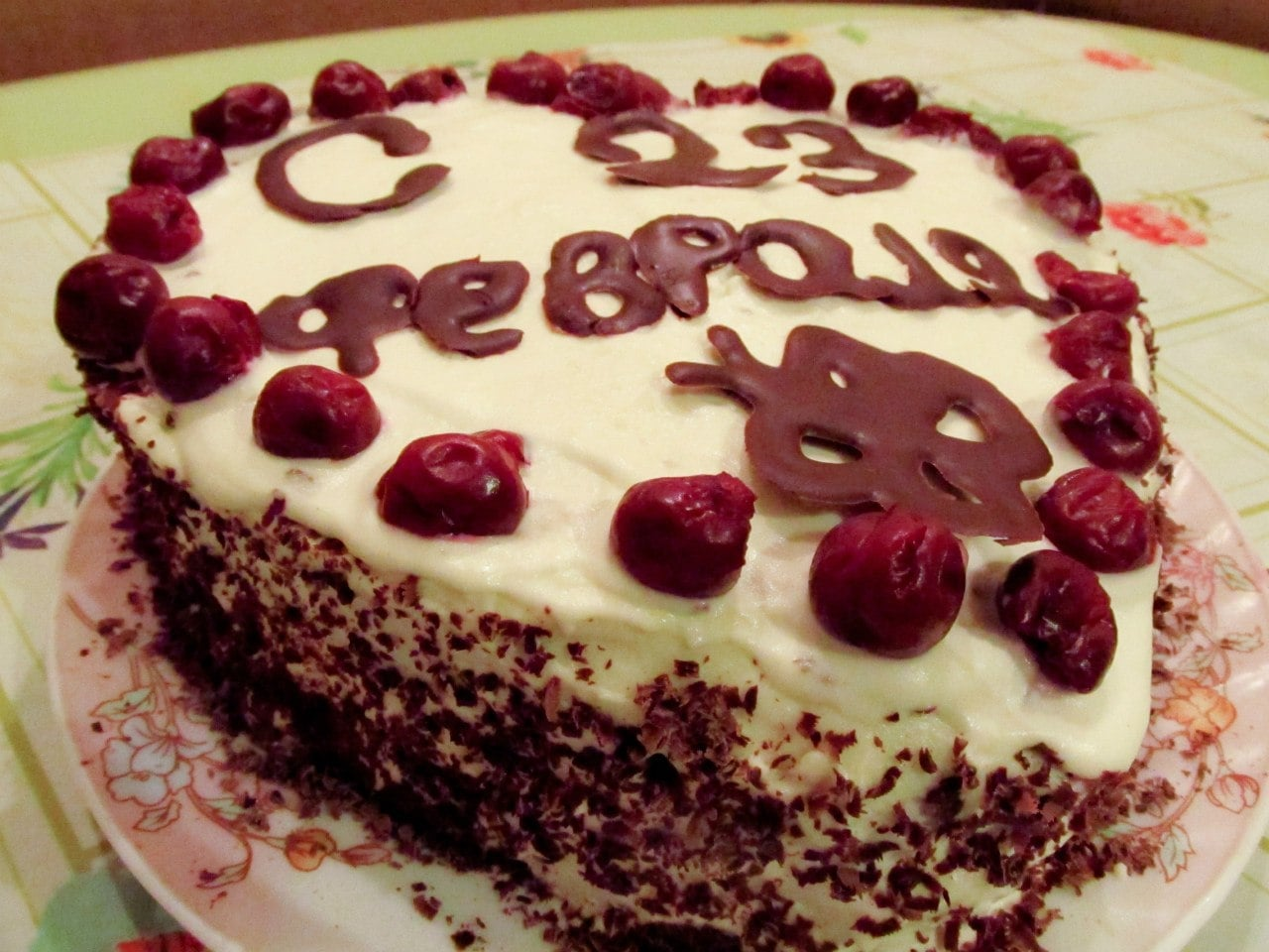 Шоколадно-бисквитный торт с заварным кремом и вишней - приготовление, шаг 2