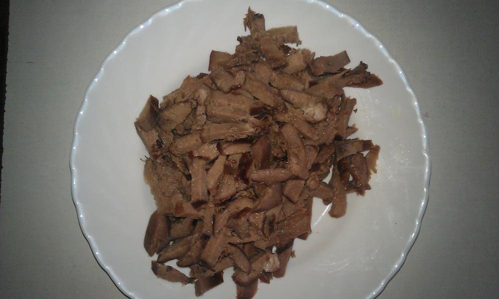 Язык тушенный с грибами в сметане - приготовление, шаг 1