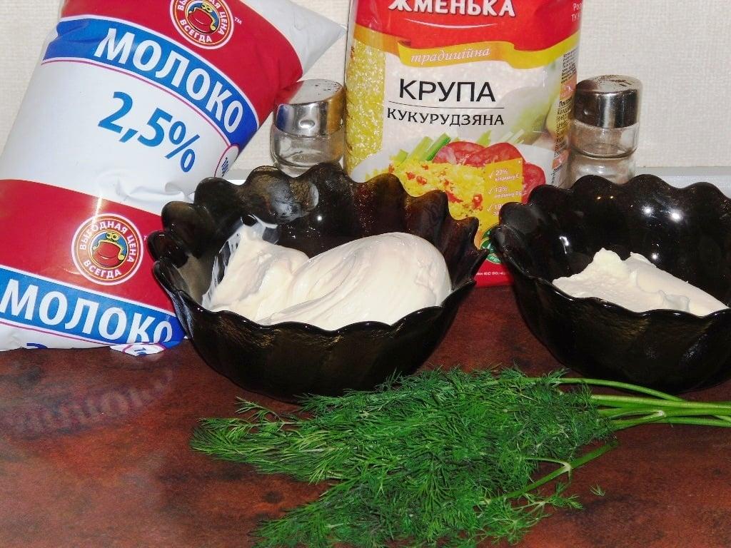 Кукурузная каша с сыром и беконом - приготовление, шаг 1