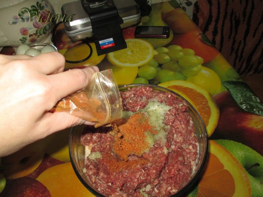 Мясной пирог с яйцами и овощами - приготовление, шаг 9