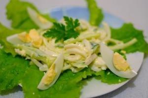Салат с кальмарами и свежими огурцами - приготовление, шаг 4