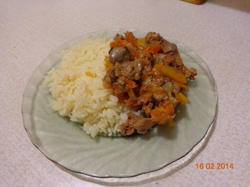 Куриная печень с грибами и рисом - приготовление, шаг 5