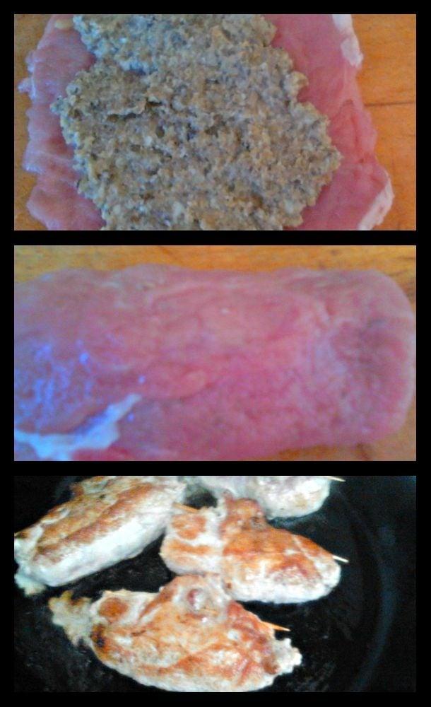Мясные рулеты под сметанно-ореховым соусом. - приготовление, шаг 3