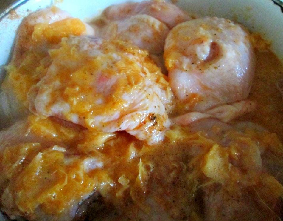 Курица с картошкой в мандариново-имбирном маринаде - приготовление, шаг 1