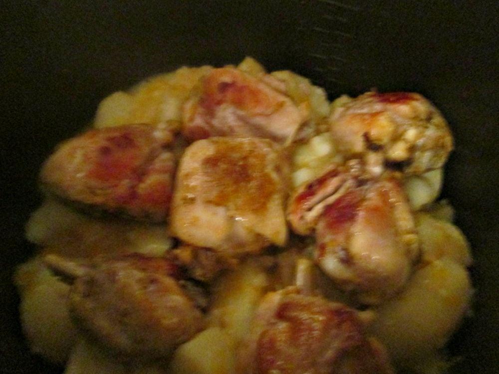 Курица с картошкой в мандариново-имбирном маринаде - приготовление, шаг 4