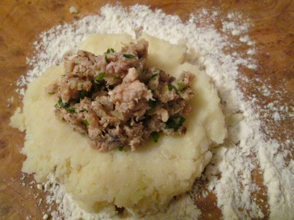 Картофельные зразы с курицей и зеленью - приготовление, шаг 3