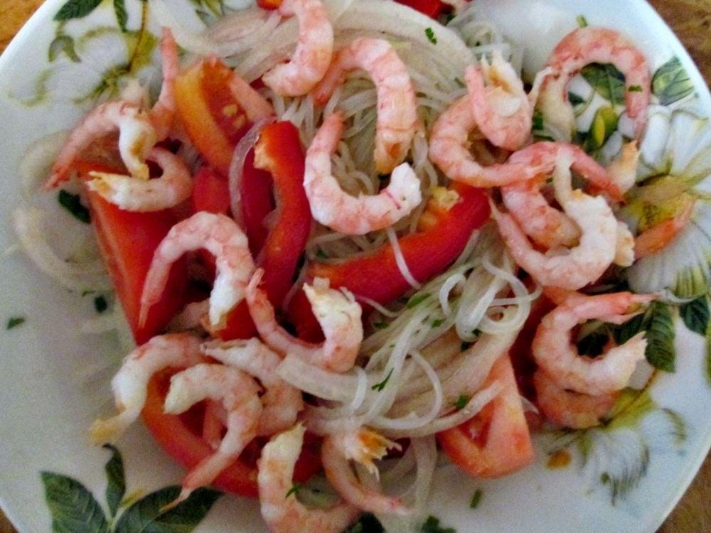 Азиатский салат с креветками - приготовление, шаг 6