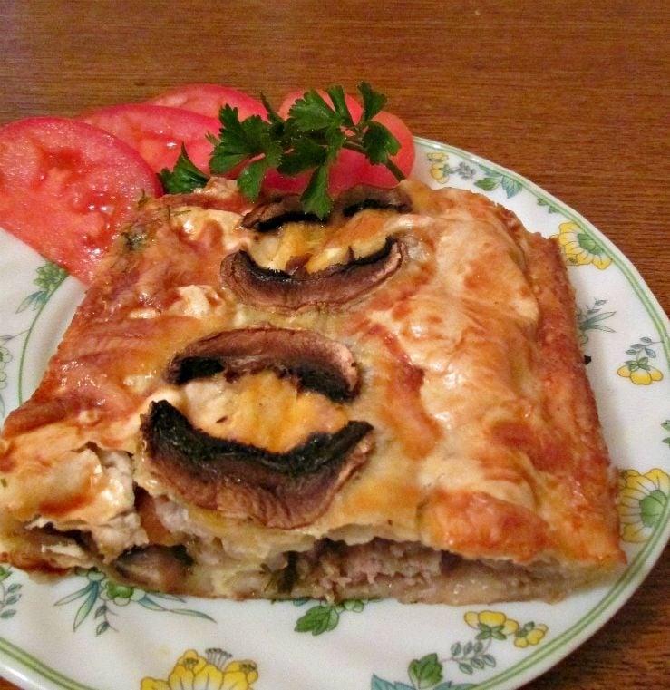Мясной пирог с грибами из лаваша - приготовление, шаг 8