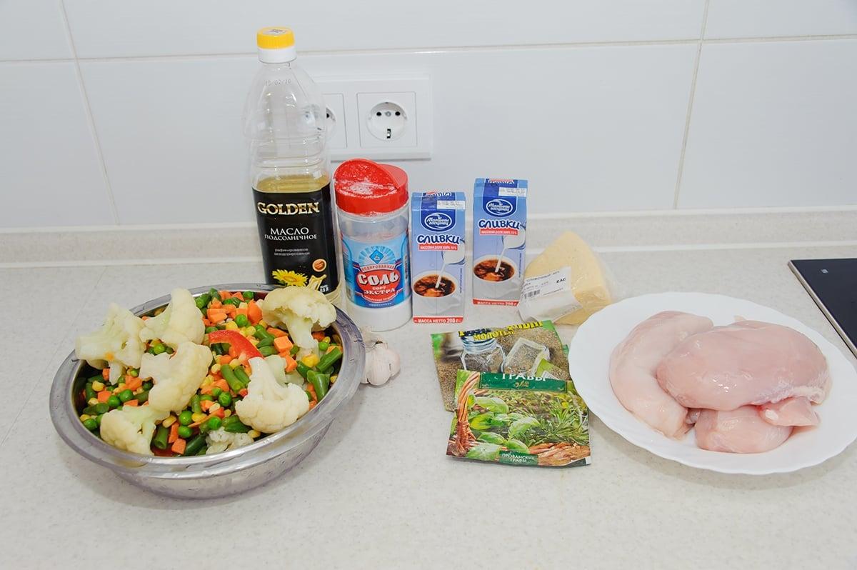Куриное филе с овощами в сливочно-сырном соусе - приготовление, шаг 1