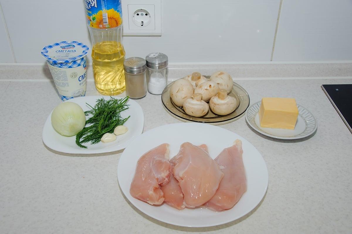 Куриные рулеты с грибами и сыром в духовке - приготовление, шаг 1