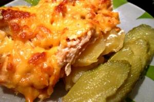 Картошка с семгой под сырной корочкой