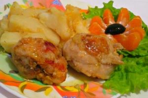 Курица с картошкой в мандариново-имбирном маринаде