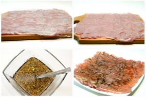 1 Мясо обвернуть пищевой пленкой и тонко-тонко...